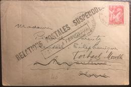 """France Lettre Iris N°433 1fr Rouge Pour Angouleme Puis Reexpedié Pour Forbach """"Relations Postales Suspendues"""" !! - 1939-44 Iris"""