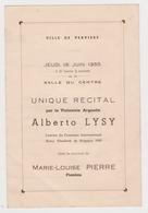 Verviers 1955 Récital  Alberto Lysy Violon Argentine  & Marie Louise Pierre Piano - Programs