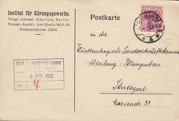 Germany Deutsches Reich INSTITUT Für GÄRUNGSWERBE, BERLIN N 1922 Card Karte STUTTGART 1 1/4 Mark Germania - Allemagne
