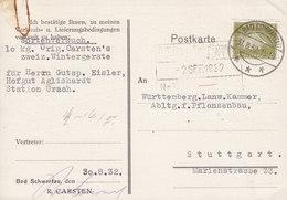 Germany Deutsches Reich R. CARSTEN Wintergerste BAD SCHWARTAU 1932 Card Karte STUTTGART 6 Pf. Ebert - Deutschland