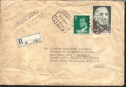 J) 1981 SPAIN, KING JUAN CARLOS I, R. PEREZ DE AYALA, CERTIFICATED AND REGISTERED, MULTIPLE STAMPS, AIRMAIL, CIRCULATED - 1931-Today: 2nd Rep - ... Juan Carlos I