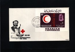 Sharjah 1963 Red Cross Centenary Block FDC - Rotes Kreuz