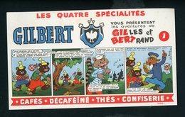 BUVARD:  LES 4 SPÉCILAITÉS DE GILBERT - AVENTURES DE GILLES ET BERTRAND (ILLUSTR. J.L.PESH) - Café & Thé