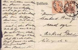 Germany Deutsches Reich STUTTGART 1919 Card Karte BIRKACH B. Hohenheim 2x 7½ Pf. Germania - Deutschland
