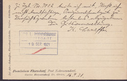 Germany Deutsches Reich DOMINIUM FLORSDORF, Post Sohnneundorf Station Hennersdorf, GÖRLITZ 1921 Card Karte 40 Germania - Deutschland