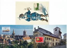 705-707 / 1267-1269 Maximumkarten Mit ET-Ortsstempel - ZÜRICH, ST. IMIER, LAUSANNE - Cartes-Maximum (CM)
