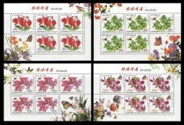 North Korea 2010 Mih. 5579/82 Flora And Fauna. Orchids. Insects. Butterflies. Birds (4 M/S) MNH ** - Korea (Nord-)