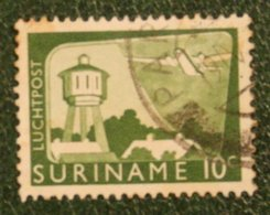 10 Ct Luchtpostzegel Airmail Airplane NVPH Nr: LP35 LP 35 1965 Used / Gestempeld SURINAME / SURINAM - Surinam ... - 1975