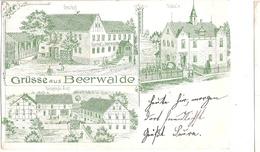 BEERWALDE Bei Dippoldiswalde Grün Litho Amt Schule Gasthof Gelaufen Als Bahnpost HAINSBERG 31.8.1899 - Dippoldiswalde