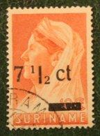 7 1/2 Ct Hulpuitgifte Overprint Juliana NVPH 213 213a 1945 Used / Gestempeld SURINAME / SURINAM - Surinam ... - 1975