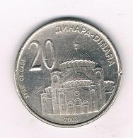 20 DINAR 2003 SERVIE /1500/ - Serbie