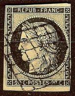 EXTRA CERES N°3 20c Noir / Jaune Oblitéré GRILLE Cote 60 Euro PAS AMINCI Signé - 1849-1850 Ceres
