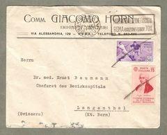 Storia Postale 1934 Da Roma A Berna Svizzera Affr. 50 Cent Calcio + 75 Cent Elettro Radio-biologia - 1900-44 Victor Emmanuel III