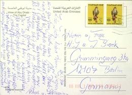 1998 , UNITED ARAB EMIRATES , TARJETA POSTAL CIRCULADA , VIEW OF ABU DHABI , FRANQUEO BÁSICA HALCONES , BIRDS OF PREY - Emiratos Árabes Unidos