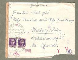 Storia Postale 1942 Da Perugia A Germania Affr. Coppia 50 Cent Imperiale + Censura Vedi Retro - 1900-44 Vittorio Emanuele III