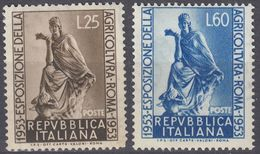 ITALIA - 1953 - Serie Completa Di 2 Valori Nuovi MNH: Yvert 658/659. - 1946-.. République