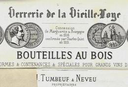 1871  VERRERIE DE LA VIEILLE LOYE TUMBEUF ET NEVEU Par Montbarrey Pour MM. Chanson à Beaune Champenoises Vins De Beaune - France