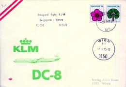 1973 , SINGAPORE , INAUGURAL FLIGHT KLM SINGAPORE - VIENNA , AVIACIÓN - Singapur (1959-...)