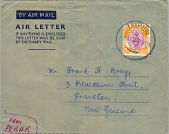1952 , MALAYA - PERAK , AEROGRAMA CIRCULADO , TAIPING - NUEVA ZELANDA - Perak