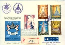 1967 , PORTUGAL , VUELO ESPECIAL , PABLO VI , FATIMA - CIUDAD DEL VATICANO , LLEGADA AL DORSO - 1910-... República