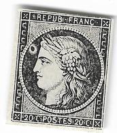 003. Timbre N°3 Noir Sur Blanc (*) - (Impression Dépouillée) - ANNEAU DE LUNE - Signé Bühler - 1849-1850 Ceres