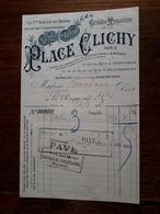 Ancienne Facture. Grands Magasins De La Place Clichy. Paris. Tapis. 1898 - France