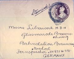 1924 , INDIA - PROTECTORADO BRITÁNICO , FRONTAL DE SOBRE ENTERO POSTAL CIRCULADO A BRAUNSCHWEIG , ONE ANNA - 1911-35 King George V