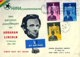 1959 , GHANA , PRIMER DIA , 150 ANIVERSARIO DEL NACIMIENTO DE ABRAHAM LINCOLN, CERTIFICADO A NUEVA YORK , LLEGADA - Ghana (1957-...)