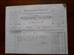 Ancienne Facture. Alger. Horlogerie , Bijouterie. Fernand Cachot. 1887 - Factures & Documents Commerciaux