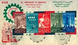 1958 , EGIPTO - SOBRE CONMEMORATIVO , 6º ANIVERSARIO DE LA LIBERACIÓN , INDUSTRIAS EN EGIPTO , PETROLEO , CEMENTO , - Egipto