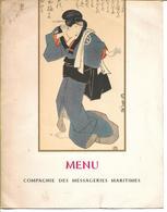 FRANCE -  MENU COMPAGNIE DES MESSAGERIES MARITIMES - PAQUEBOT PASTEUR - Personnages Théatre JAPONAIS - Menus