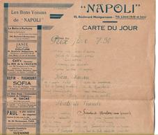 FRANCE -  MENU Cafe-Restaurant NAPOLI  95, Boulevard Montparnasse .- C/1920's - Menus