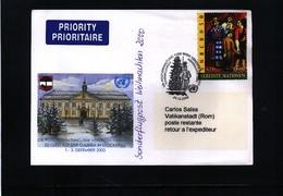 UNO 2000 Sonderflugpost Weihnachten 2000 Wien - Vatikan - Wien - Internationales Zentrum