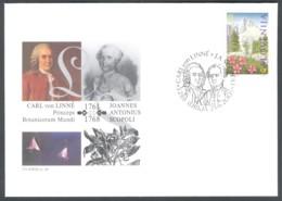 Slovenia, 2001, Carl Von Linne & Joannes Antonius Scopoli, Spec Postmark & Cover - Slovenia