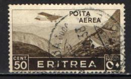 ITALIA - ERITREA - 1936 - AEREO CHE PLANA SU LINEA FERROVIARIA - USATO - Erythrée