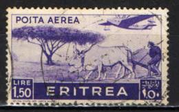 ITALIA - ERITREA - 1936 - AEREO CHE PLANA SU CONTADINO CHE ARA LA TERRA - USATO - Erythrée
