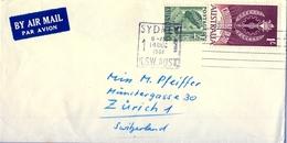 1961 , AUSTRALIA , SYDNEY - ZÜRICH , SOBRE CIRCULADO - 1952-65 Elizabeth II: Ediciones Pre-Decimales