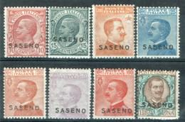 Italienische Post Auf Saseno 1923 Freimarken 1-8 MH - Saseno
