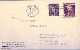 1948 , AUSTRALIA , MELBOURNE - FREIBURG , SOBRE CIRCULADO - 1937-52 George VI