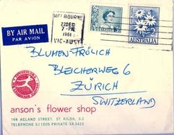 1961 , AUSTRALIA , MELBOURNE - ZÜRICH , SOBRE CIRCULADO - 1952-65 Elizabeth II: Ediciones Pre-Decimales