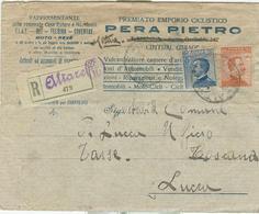 MICHETTI Cent.20+25,TARIFFA LETTERA RACC.,1918,TIMBRO POSTE ALTARE (LUCCA), PERA PIETRO,CICLI,ADLER CYCLES,CHIUDILETTERA - 1900-44 Victor Emmanuel III