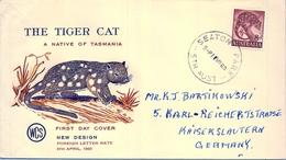 1960 , AUSTRALIA , SOBRE DE PRIMER DIA , SEATON , FAUNA , THE TIGER CAT - Sobre Primer Día (FDC)