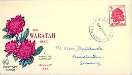 1959 , AUSTRALIA , SOBRE DE PRIMER DIA , SEATON , FLORES , THE WARATAH BUSH - Sobre Primer Día (FDC)