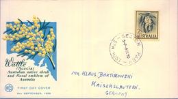 1959 , AUSTRALIA , SOBRE DE PRIMER DIA , SEATON , FLORES , WATTLE , ACACIA - Sobre Primer Día (FDC)