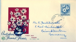 1959 , AUSTRALIA , SOBRE DE PRIMER DIA , SEATON , FLORES , FLANNEL FLOWER - Sobre Primer Día (FDC)