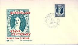 1960 , AUSTRALIA , SOBRE DE PRIMER DIA , QUEENSLAND CENTENARIO - Sobre Primer Día (FDC)