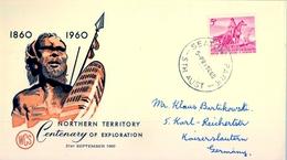 1960 , AUSTRALIA , SOBRE DE PRIMER DIA , NORTHERN TERRITORY CENTENARY OF EXPLORATION - Sobre Primer Día (FDC)