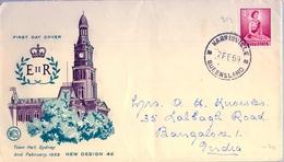 1959 , AUSTRALIA , SOBRE DE PRIMER DIA , HARRISVILLE / QUEENSLAND , NUEVO DISEÑO SERIE BÁSICA, CIRCULADO A LA INDIA - Sobre Primer Día (FDC)