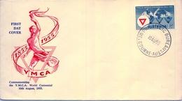 1955 , AUSTRALIA , SOBRE DE PRIMER DIA , Y.M.C.A. WORLD CENTENNIAL - Sobre Primer Día (FDC)