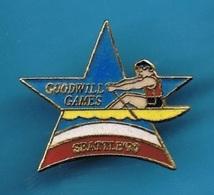 1 PIN'S  //  ** AVIRON / GOODWILL GAMES / SEATTLE '90 ** . (© & TM SOC) - Roeisport